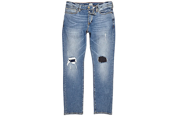Dylan Ripped Slim Jeans In Mid Blue Wash