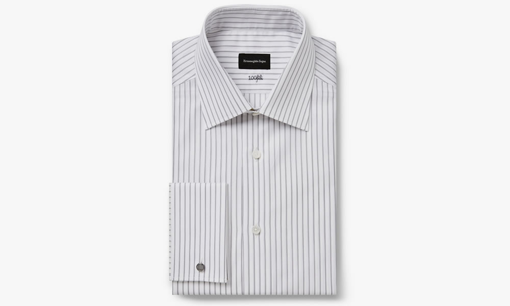 Ermenegildo Zegna White Striped 100fili Shirt